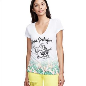 True Religion White T-Shirt Top Tropical Paradise